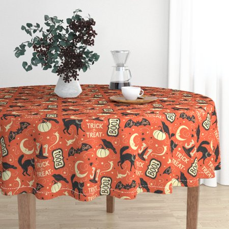 Round Tablecloth Johanna Parker Vintage Halloween Crow Trick Or Cotton Sateen ()