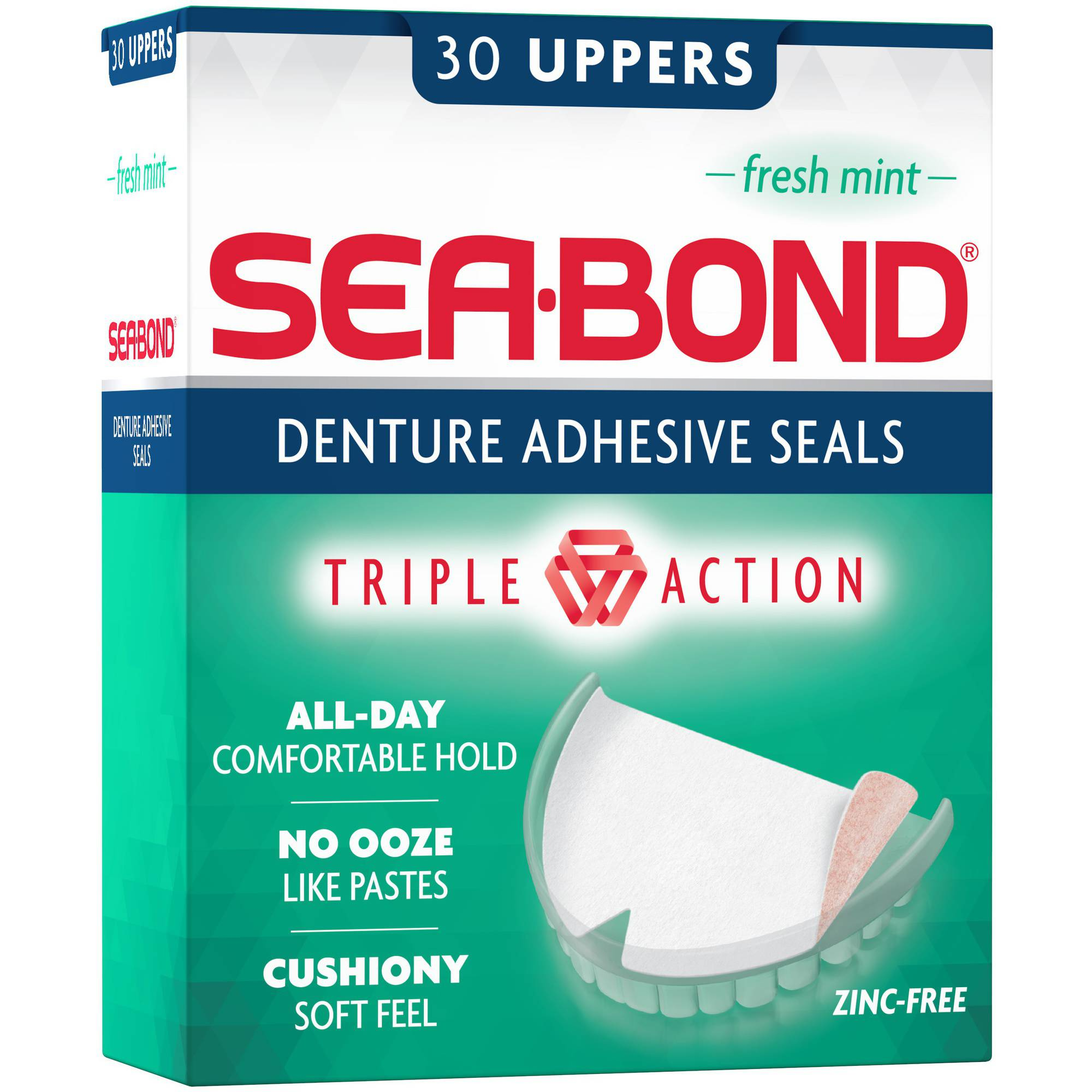 Sea-Bond Uppers Fresh Mint Denture Adhesive Wafers, 30 ct