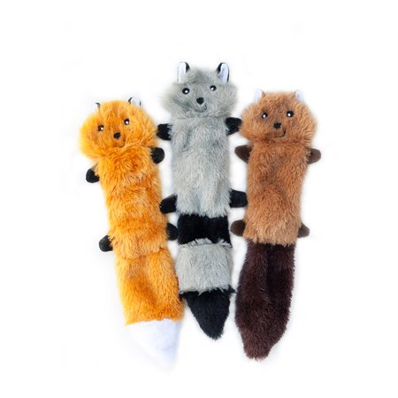 Zippy Paws Skinny Peltz - Fox, Raccoon, Squirrel - Small Pack of 3