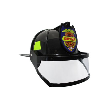 Adult Child Fire Chief Firefighter Fireman Black Helmet with Visor Costume - Fire Extinguisher Halloween Costume