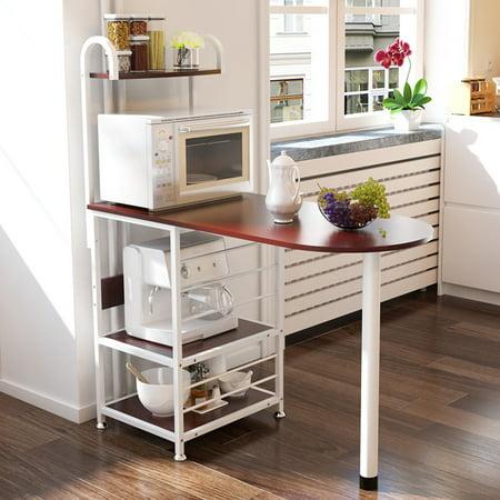 Kitchen Island Metal Dining Baker Cabinet Basket Storage Shelves Organizer Walnut Wood