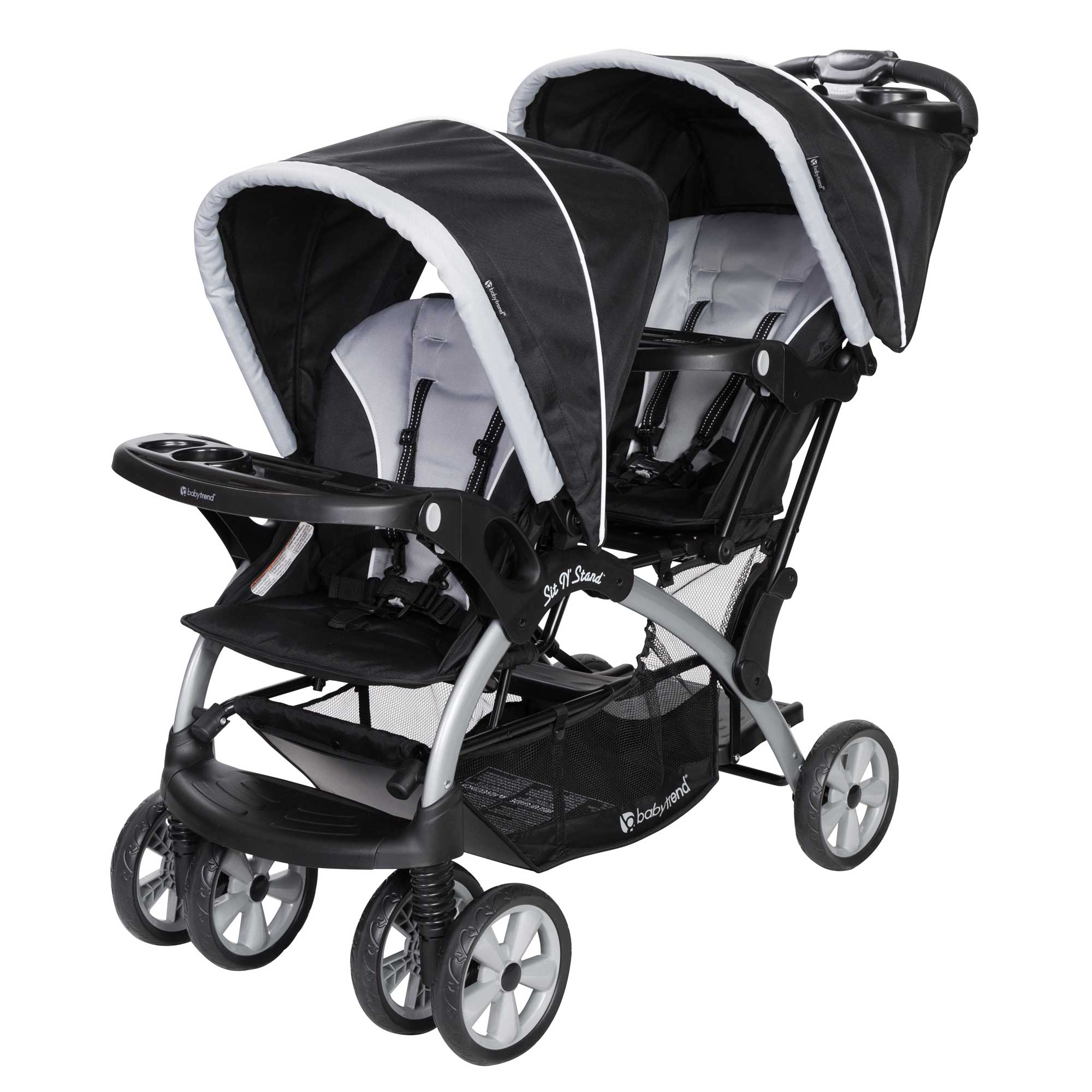 Baby Trend Sit N Stand Infant Toddler Twin Tandem 2 Seat Double Stroller, Stormy by Baby Trend