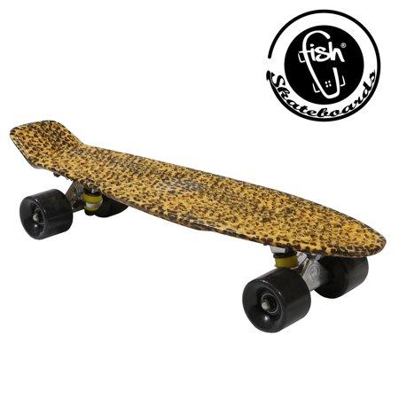 Fish Skateboard Cheetah Animal Print Retro Plastic Penny Style Cruiser Stereo