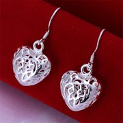 Rubique 18K White Silver Heart Chambered Earring