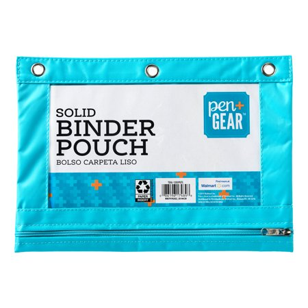 Pen + Gear Solid Polyester Binder Pouch Pencil Case, Teal, 10.25u0022 x 7.25u0022
