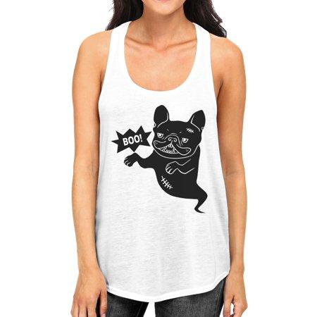Boo French Bulldog Womens White Tank Top Funny Halloween Tshirt ()