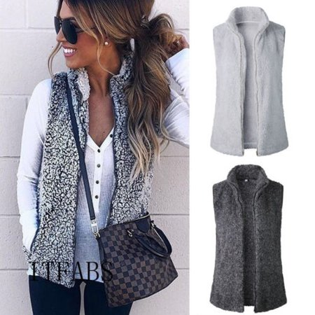 Women Vest Winter Warm Outwear Casual Faux Fur Zip Up Sherpa Jacket Coat Top (Steampunk Vest Womens)