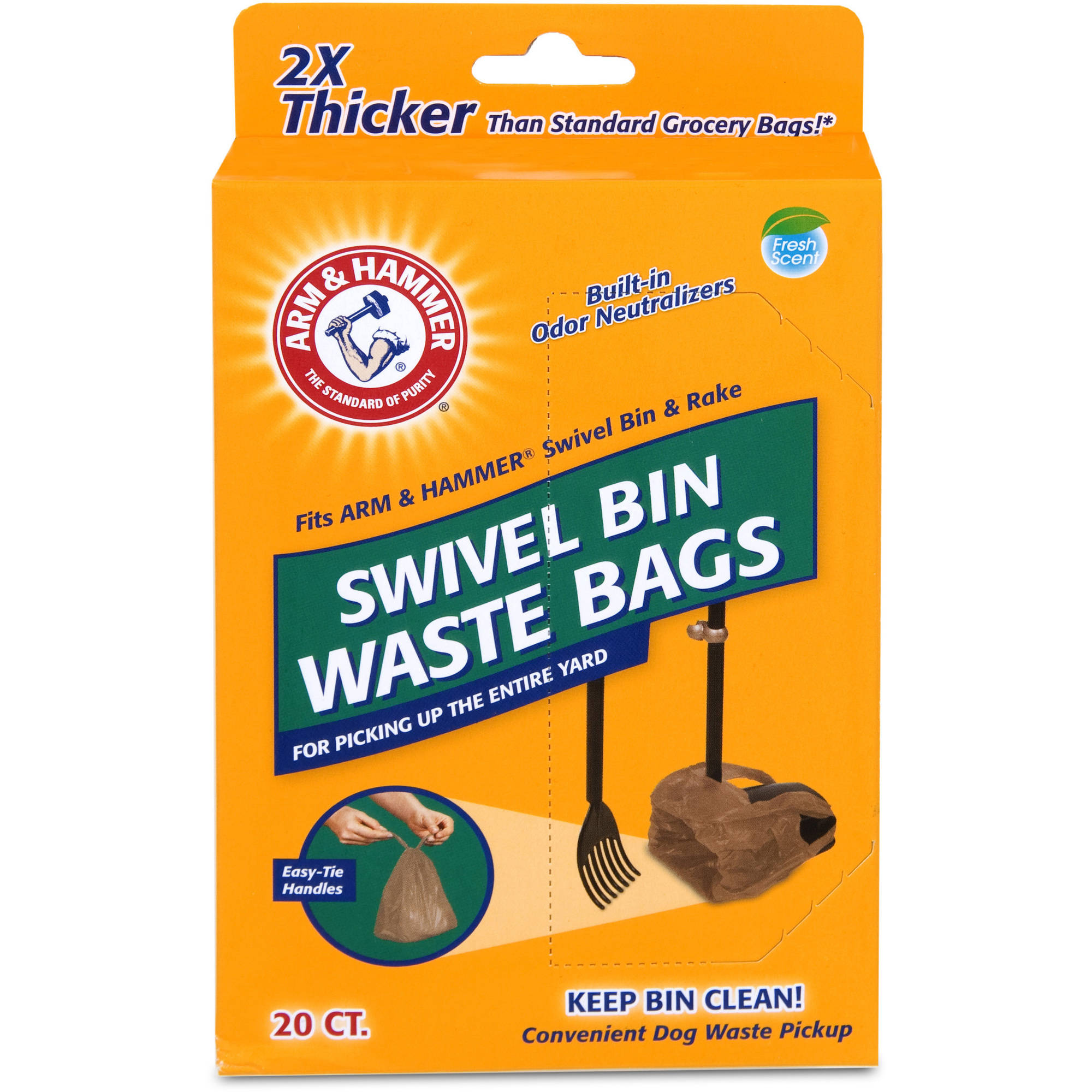 ARM & HAMMER Swivel Bin Waste Bags, Pack of 20