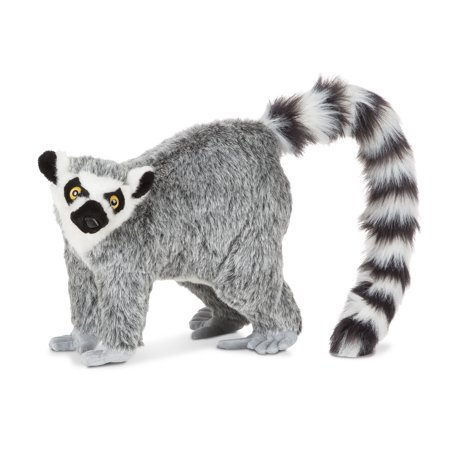 Melissa & Doug Standing Lifelike Plush Lemur Stuffed Animal (15.5 x 14.5 x 9 inches)