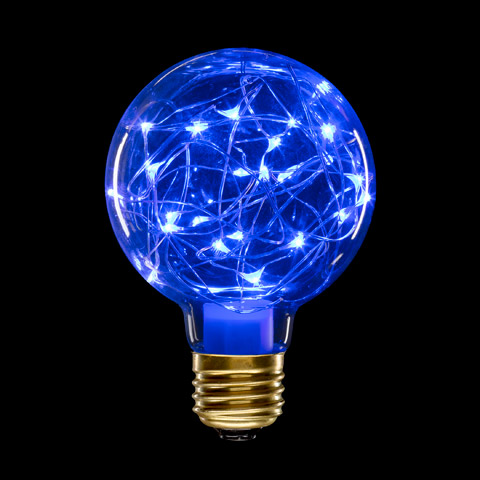 CVL Colored G80 Globe Light Bulbs with Moonlights: Blue Glass