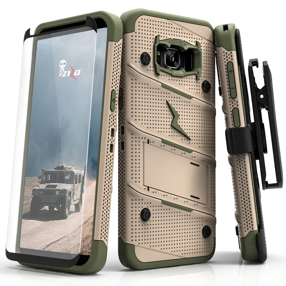 Zizo BOLT Series compatible with Samsung Galaxy S8 Active Case Military Grade Drop Tested with Tempered Glass Screen Protector Holster
