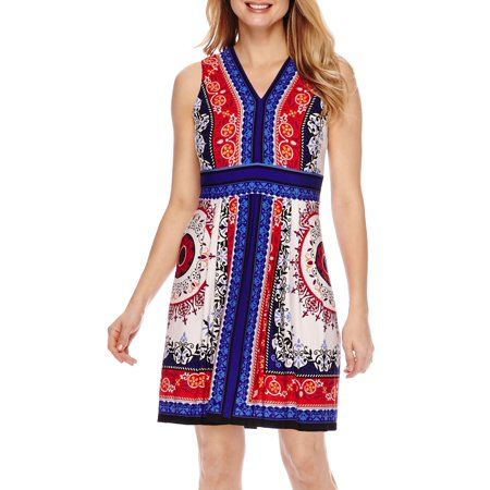 Printed Slinky Jersey Dress - Sandra Darren Women''s Petite Sleeveless Printed Jersey Sheath Dress