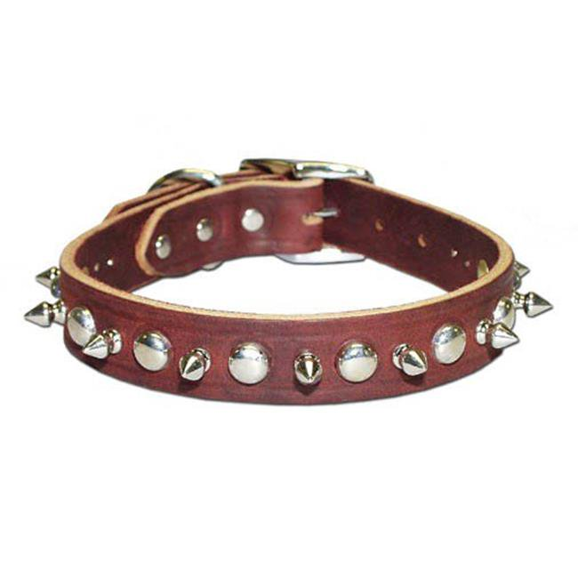 Leather Brothers Inc.  6081-PK22 Pink Signature Leather Spike and Stud Dog Collar -Size 22