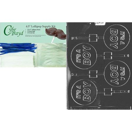 CybrtraydIt's a Boy Lolly Baby Chocolate Candy Mold with Lollipop Supply Bundle, Includes 25 Lollipop Sticks, 25 Cello Bags and 25 Blue Twist Ties](Lollipop Molds Baby Shower)