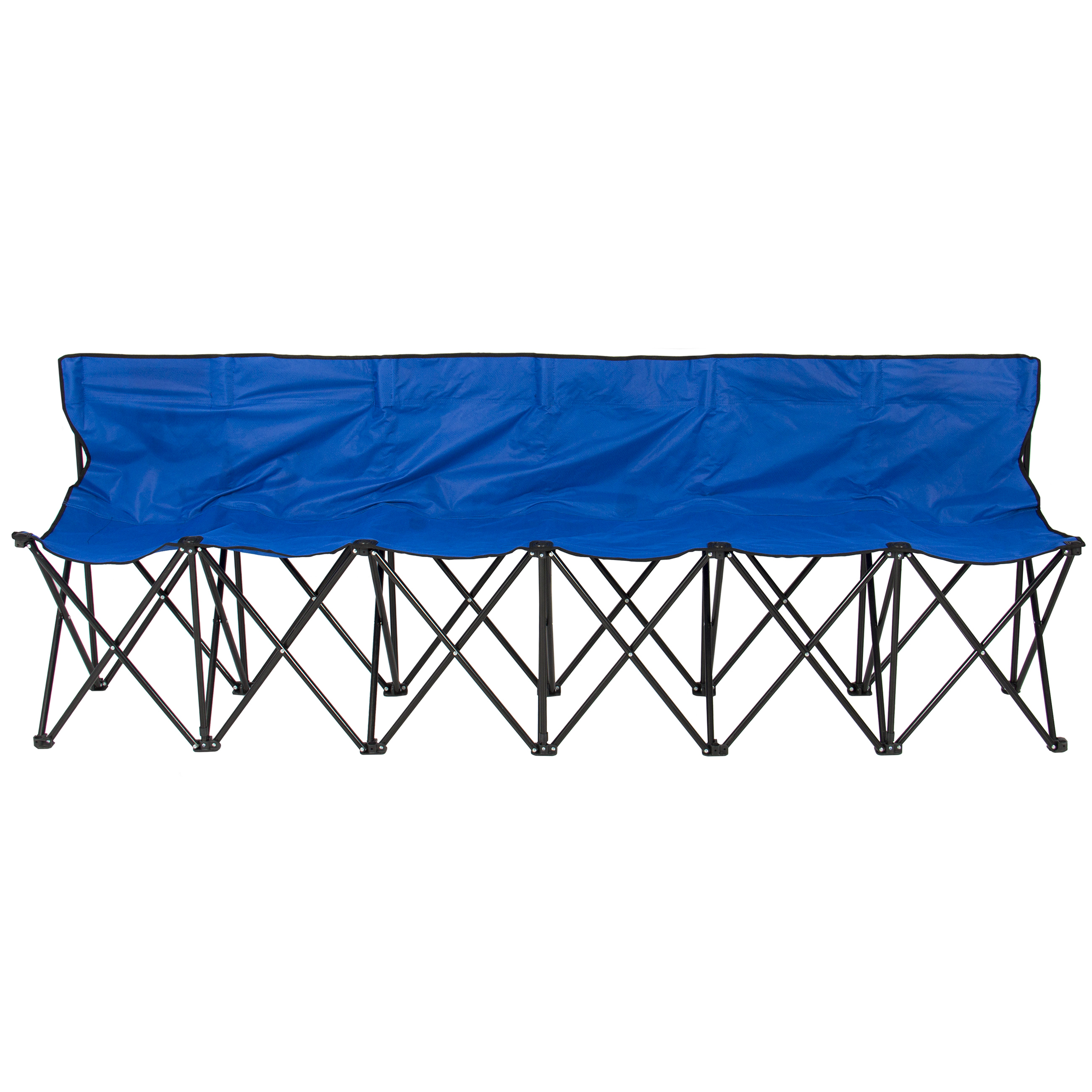 6 Seat Folding Bench Sports Sideline Chairs Portable With Carrying ...