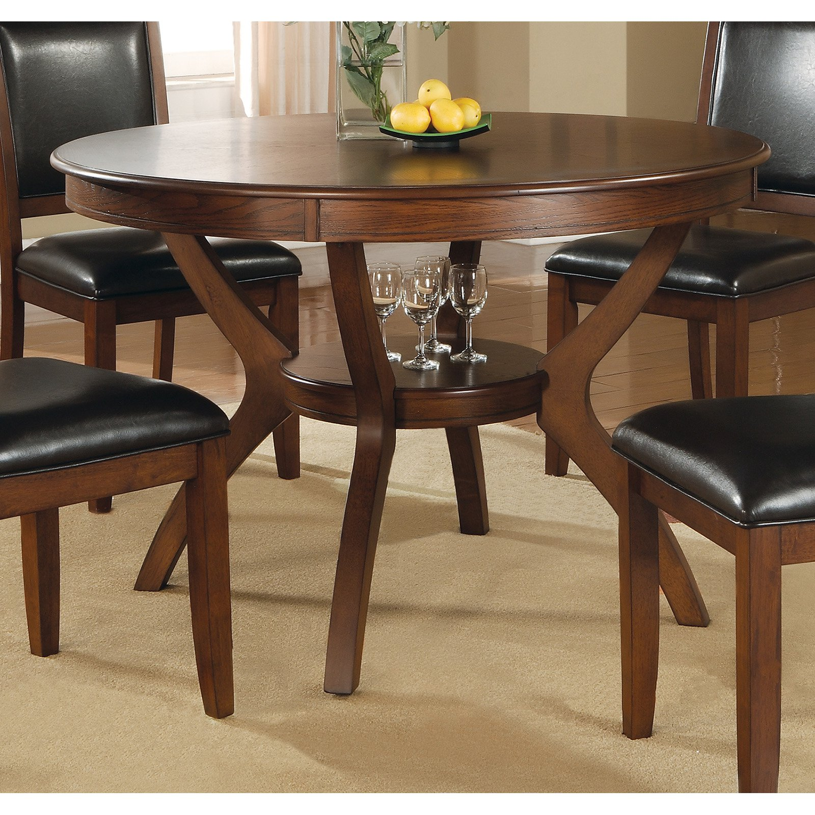 "Coaster pany 48"" Round Nelms Dining Table Deep Brown Walmart"