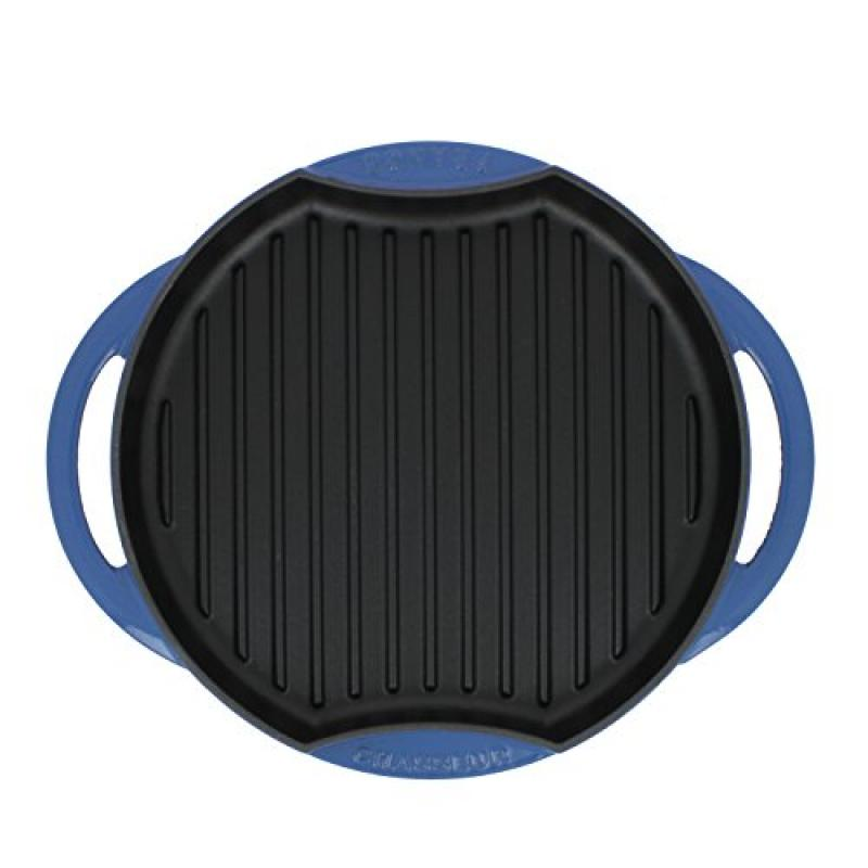 Chasseur 10-inch Blue Round French Enameled Cast Iron Gri...