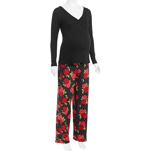 DF by Dearfoams Maternity Henley and Microfleece Pants 2-Piece PJ Set