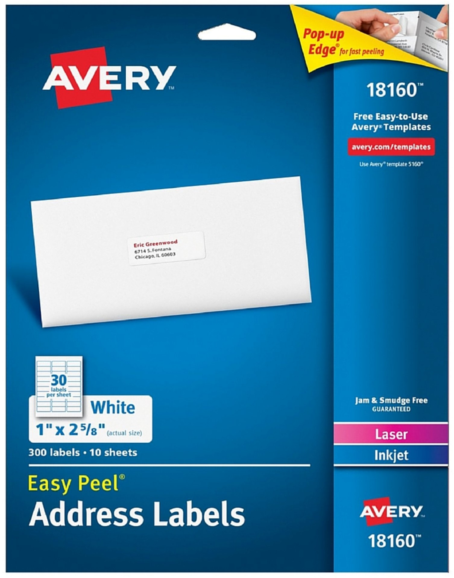 "Avery Easy Peel Address Labels, 1"" x 2-5 8\ by Avery Products Corporation"