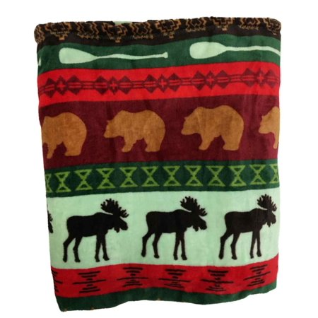 The Big One Super Soft Plush Throw Blanket Oversized 60 x 72 - Lodge Moose Bear (Bear Skin Blanket)