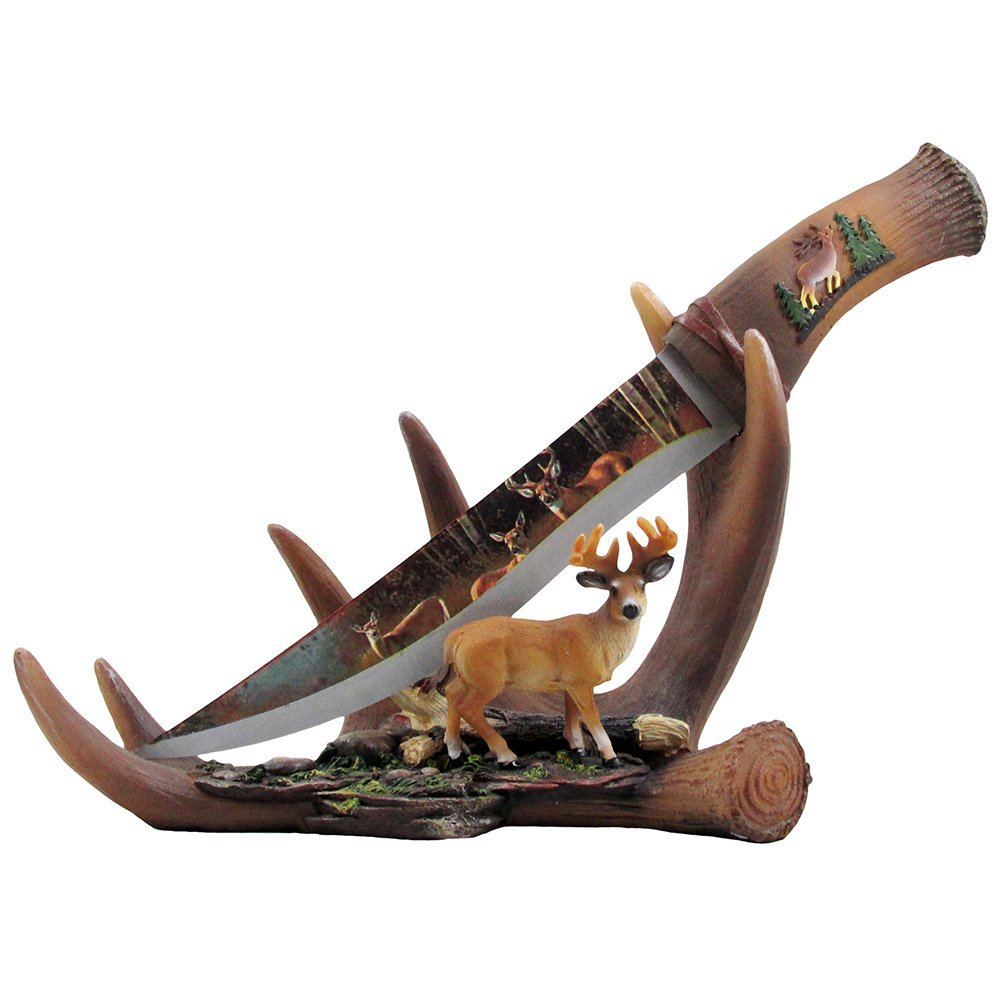 Decorative Stainless Steel Hunting Knife on Deer Antler Display Stand with Buck Figurine for Rustic Lodge and Cabin Decor by Home 'n Gifts