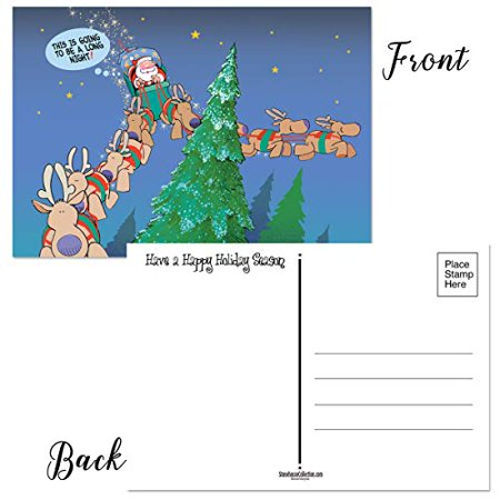 Long Night Funny Christmas Postcards - 50 Holiday Fun Postcards - 4 x 6 inch Postcards -17008a