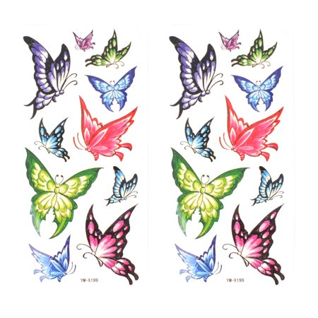 Unique Bargains Multicolor Butterfly Pattern Waterproof Temporary Tattoo Transfer Sticker 2 Pcs (Butterfly Tatoo)