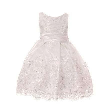 My Best Kids Girls White Embroidered Stylish Junior Bridesmaid