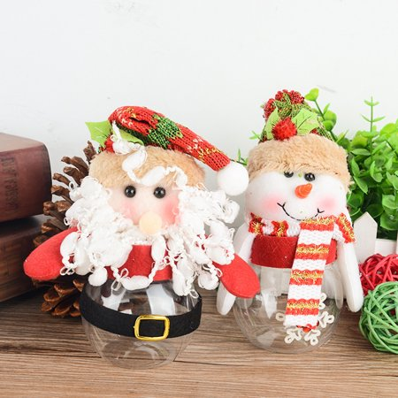 HiCoup Kid Christmas Gift Santa Claus Snowman Doll Cute Candy Box Sugar Jar Container - Cute Jars