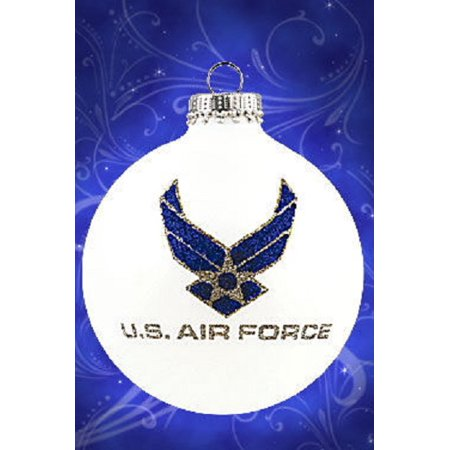 United states air force christmas glass ornament made in for Air force decoration writing