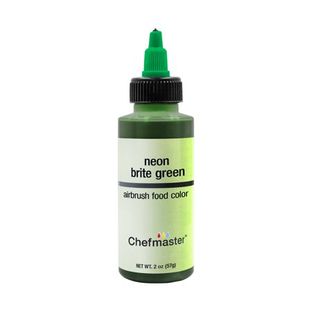 Chefmaster 2-Ounce Neon Brite Green Airbrush Cake Decorating Food Color