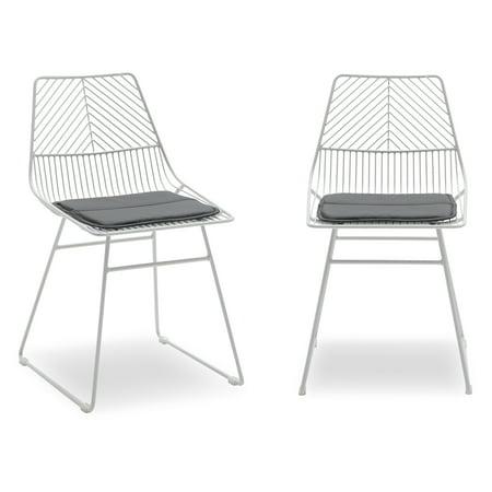 Outstanding Modrn Scandinavian Metal Dining Chair With Cushion Set Of 2 Theyellowbook Wood Chair Design Ideas Theyellowbookinfo