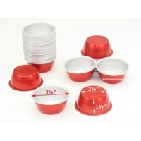 Disposable Aluminum Colored 4 ounce Ramekins-Creme Brulee Cups-Foil Cups-Dessert Cups-Red- Pack of 24