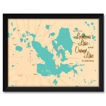 Lochloosa Orange Lakes Florida Map Framed Art Print By Lakebound