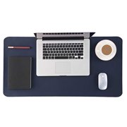 Bedsure Genuine Leather Desk Pad, Office Desk Mat Blotter on Top of Desks, Large Computer Desk Mat, Waterproof Non Slip Desk Pad Protector for Office and Home (Dark Blue,15.7x31.5 inches)