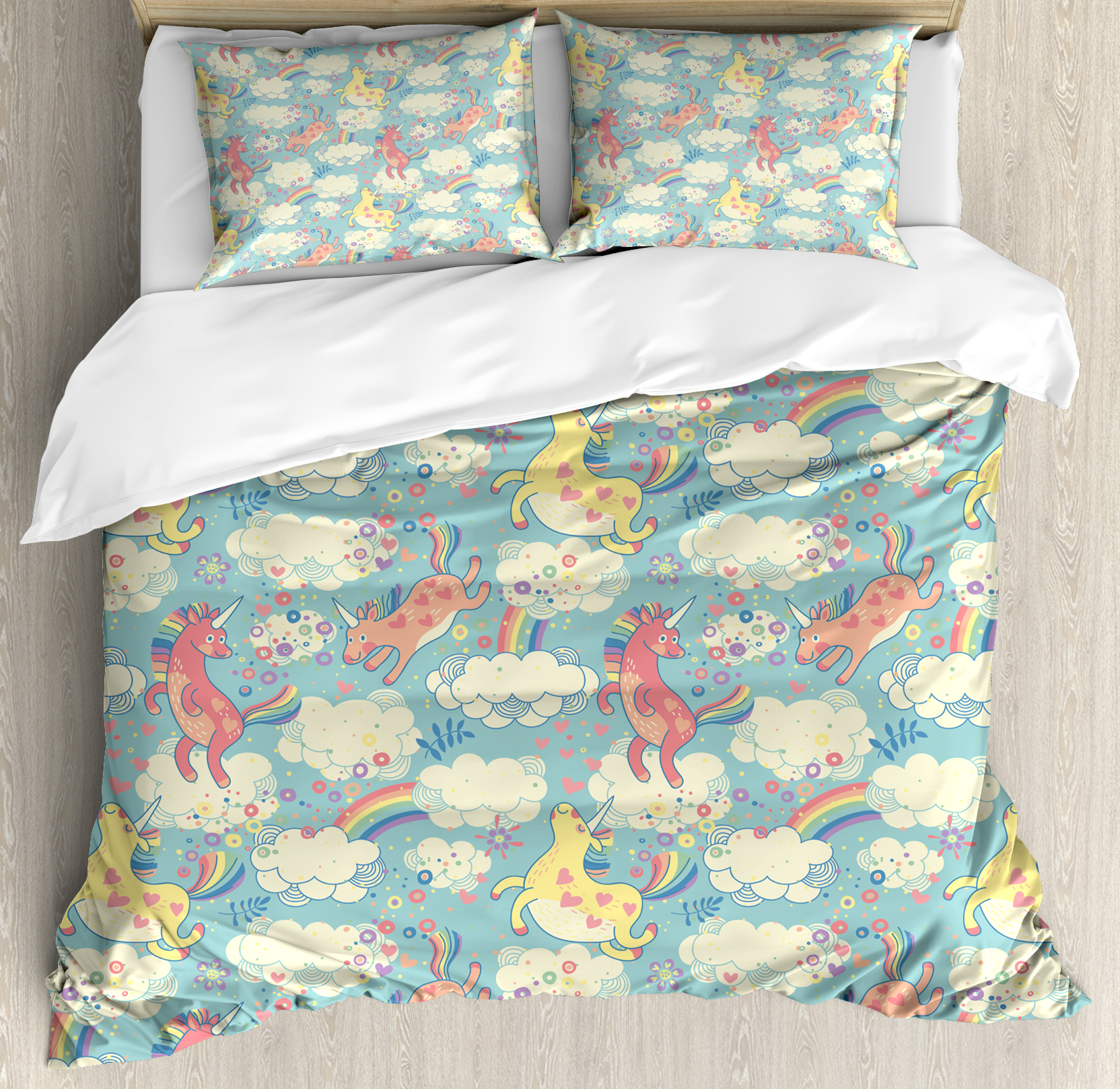 Pastel King Size Duvet Cover Set, Rainbow Unicorns Flying in Sky with Clouds Children... by Kozmos