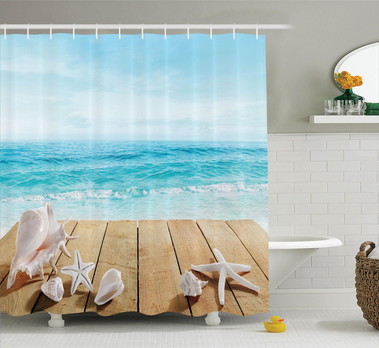 Seashells Decor Shower Curtain Set Wooden Boardwald With Seashells Resort Sunshine Vacations Maldives Deck Waves Beach Theme Bathroom Accessories