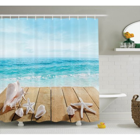 Seashells Decor Shower Curtain Set, Wooden Boardwald With Seashells Resort Sunshine Vacations Maldives Deck Waves Beach Theme, Bathroom Accessories, 69W X 70L Inches, By - Beach Themed Accessories