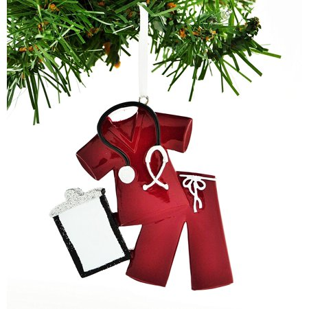 Scrubs Red Personalized Christmas Ornament DO-IT-YOURSELF - Personalized Baby Scrubs