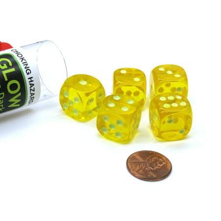 Koplow Games Set of 5 16mm D6 Glow In the Dark Spots Dice in Tube - Yellow #10570 - Glow Games