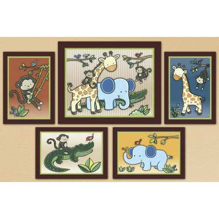 Jungle Friends, Animal 123, Baby/Kids/Nursery Art Prints. Monkey Wall (Little Monkey And Friends)