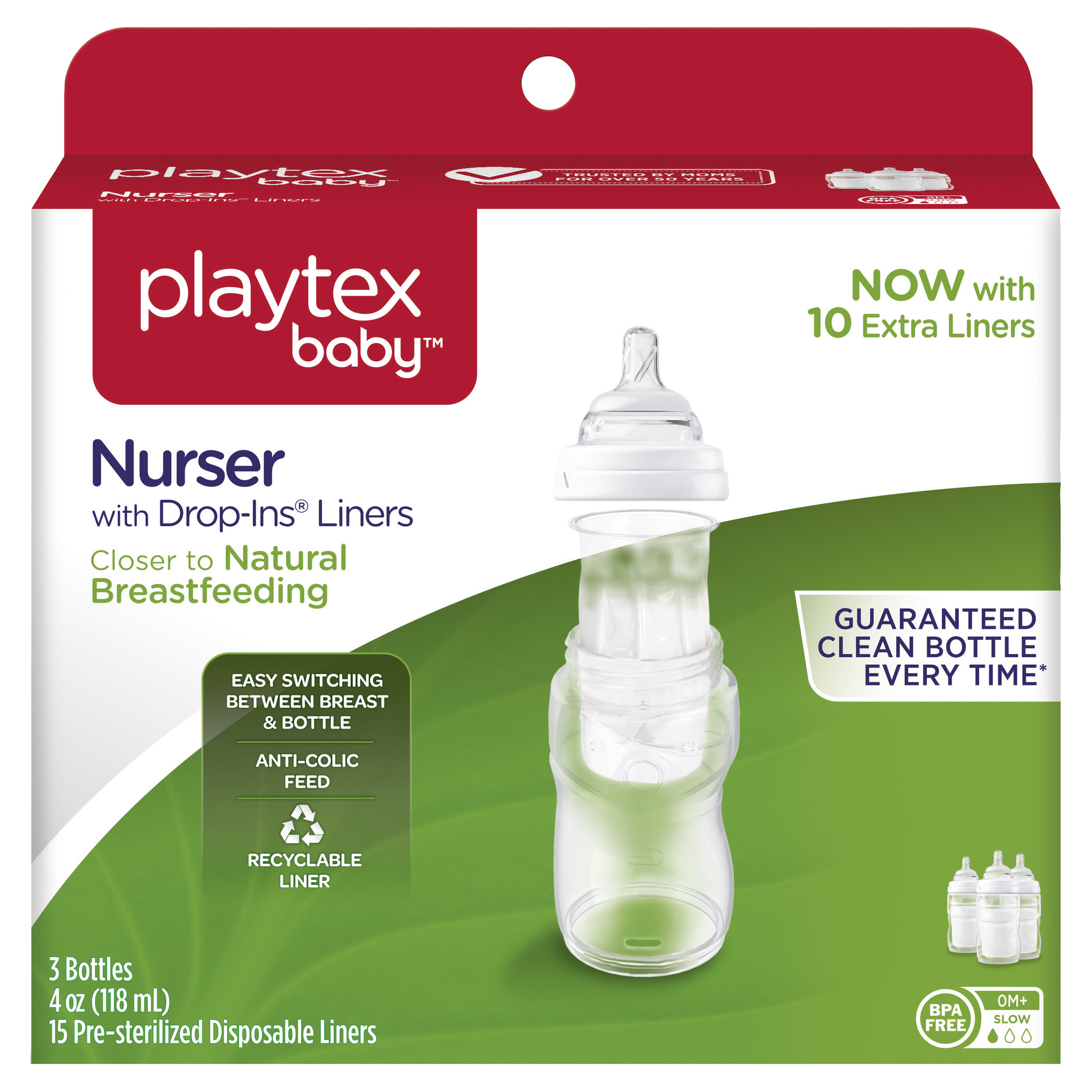 Playtex Baby Nurser With Drop-Ins Liners 4oz Baby Bottle 3-Pack