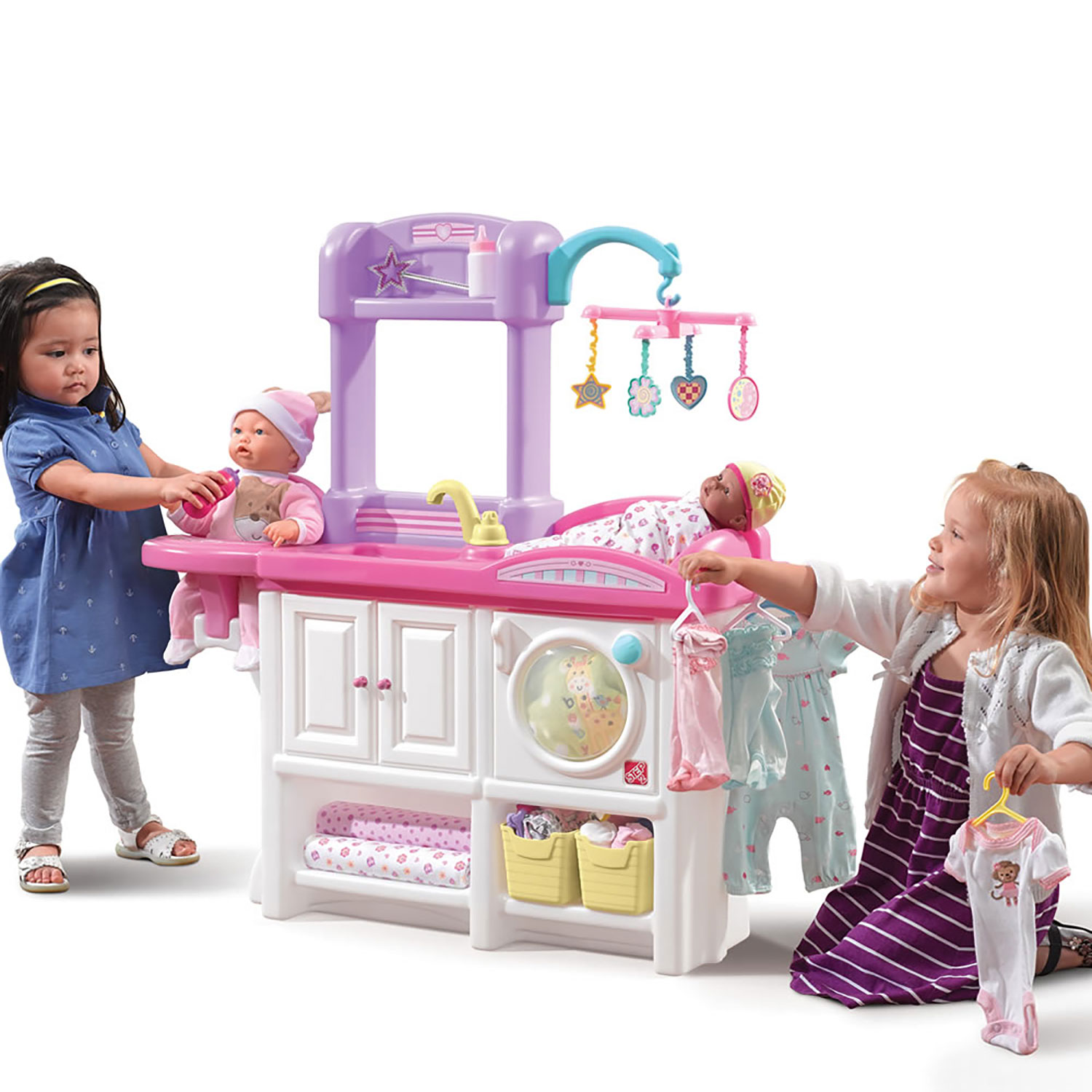 Pretend Nursery Playset Mommy Baby Doll Play Changing Table Sink Feeding Station