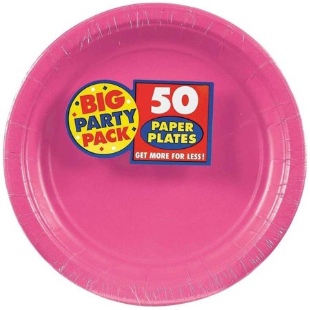 Bright Pink Big Party Pack Dessert Plates, Pack of 50 (Pink Party Plates)