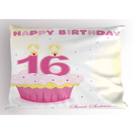 16th Birthday Pillow Sham Tasty Cupcake with Candle Teen Girls Style Sweet Surprise Illustration, Decorative Standard Queen Size Printed Pillowcase, 30 X 20 Inches, Fuchsia Yellow, by Ambesonne - Cupcake Queen