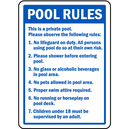Traffic Signs - Pool Rules Sign 5 10 x 7 Aluminum Sign Street Weather Approved Sign 0.04 Thickness