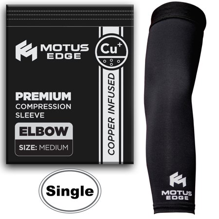 Motus Edge Copper Infused Elbow Compression Sleeve For Tennis Elbow  Tendonitis  Crossfit  Pain Relief  1 Pack   Medium