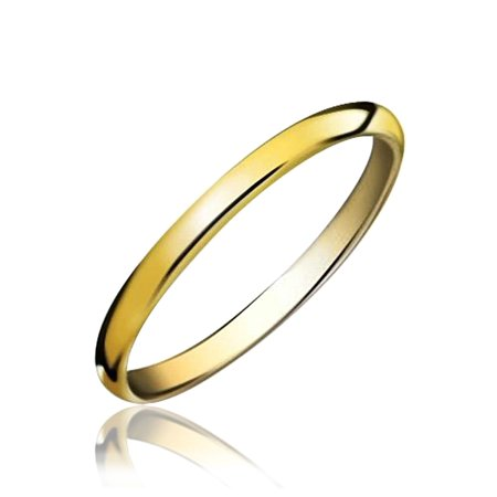 Simple Minimalist Thin Stackable Dome Couples Wedding Band Polished 14K Gold Plated Tungsten Ring For Men For Women 2MM