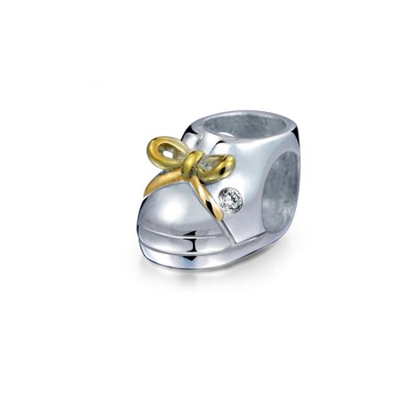 Single Baby Shoe Charm - Two Tone Baby Shoe Charm Bead For New Mother For Women 14K Gold Plated 925 Sterling Silver Fits European Bracelet