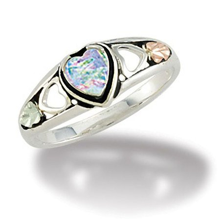 Black Hills Gold Sterling Silver Ring - Black Hills Gold 5 X 5 mm Synthetic Opal Ring in Sterling Silver